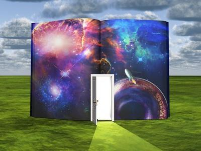 Book With Science Fiction Scene And Open Doorway Of Light-rolffimages-Art Print