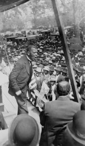 Booker T. Washington, Delivering Speech from a Stage Near New Orleans, Louisiana, 1910