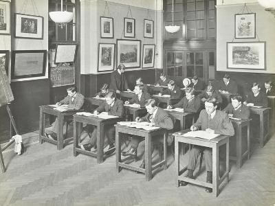 Bookkeeping Class for Men, Blackheath Road Evening Institute, London, 1914--Photographic Print