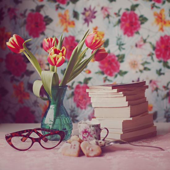 Books and Tulips-Julia Davila-Lampe-Photographic Print