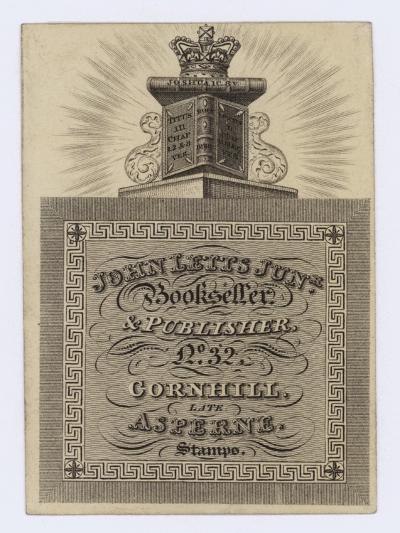 Bookseller and Publisher, John Letts Junior, Trade Card--Giclee Print