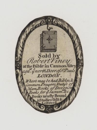 Booksellers, Robert Viney, Trade Card and Label--Giclee Print
