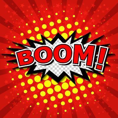 Boom! Comic Speech Bubble-jirawatp-Art Print
