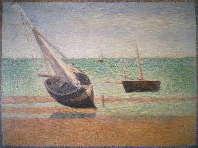 Boote Bei Ebbe Am Strand Von Grandcamp, 1885-Georges Seurat-Giclee Print