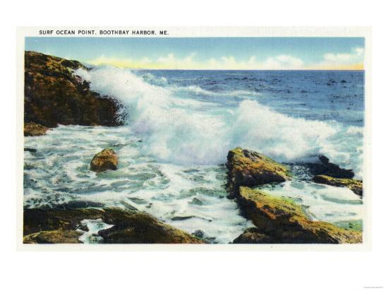 Boothbay Harbor, Maine - View of the Surf at Ocean Point-Lantern Press-Art Print