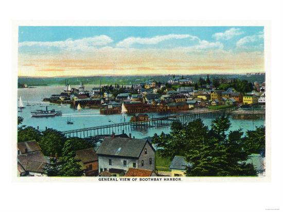 Boothbay, Maine - Aerial View of the Boothbay Harbor-Lantern Press-Art Print