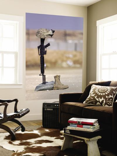 Boots, Rifle, Dog Tags, and Protective Helmet Stand in Solitude to Honor Fallen Soldiers--Wall Mural