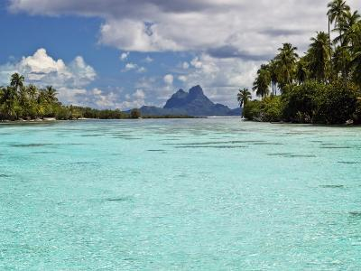 Bora Bora at End of Channel Between Two Motus in Taha'a Lagoon-Emily Riddell-Photographic Print