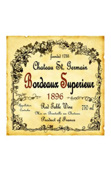Bordeaux Wine Label--Giclee Print