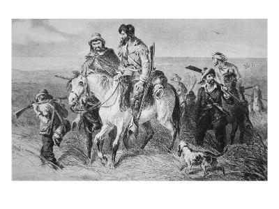 Border Ruffians from Missouri Invading Kansas, 1856 (Etching)-American-Giclee Print