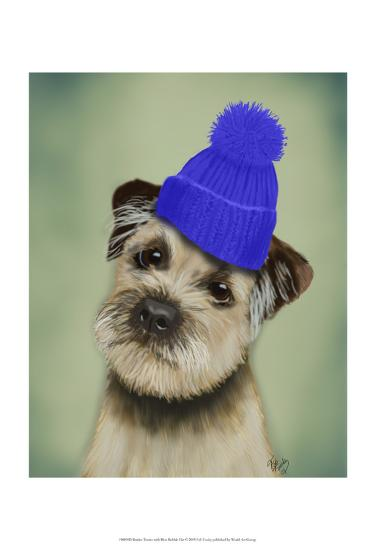 Border Terrier with Blue Bobble Hat-Fab Funky-Art Print