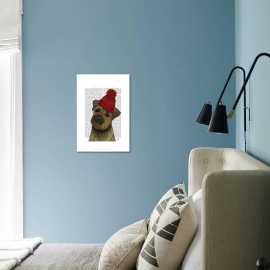 58ec1623f98 Border Terrier with Red Bobble Hat-Fab Funky-Art Print displayed on a wall