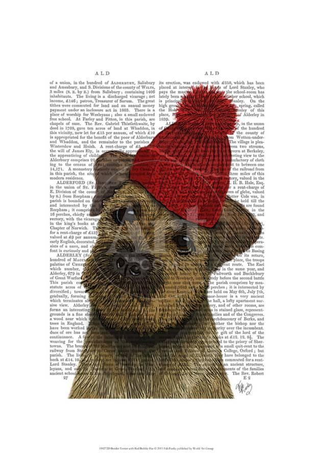 1b4344b0d27 Border Terrier with Red Bobble Hat Art Print by Fab Funky