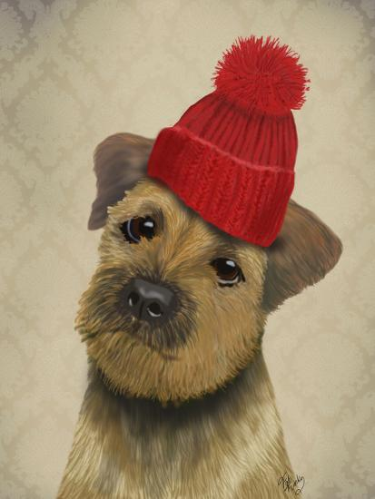 Border Terrier with Red Bobble Hat-Fab Funky-Premium Giclee Print