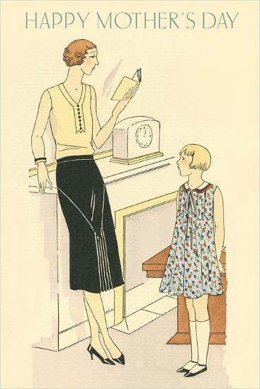 Bored Woman Reading to Daughter--Art Print