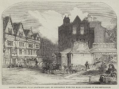 Boring Operation, Near Gray'S-Inn-Lane, in Connection with the Main Drainage of the Metropolis--Giclee Print