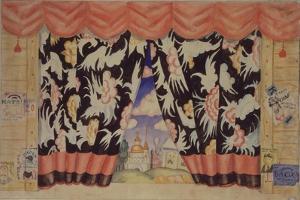 Sketch of Curtain for the Theatre Play the Flea by E. Zamyatin, 1925-1926 by Boris Michaylovich Kustodiev