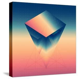 Abstract Isometric Prism with the Reflection of the Space and Low Poly Triangles on Blurred Backgro by Boris Znaev