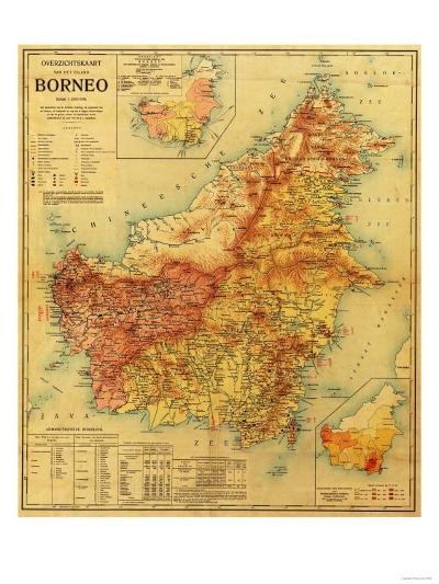 Borneo - Panoramic Map-Lantern Press-Art Print