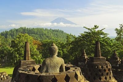 Borobodurwith Mount Merapi in the Distance, Kedu Plain, Java, Indonesia-Jochen Schlenker-Photographic Print