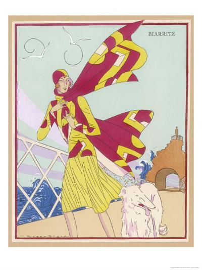 Borzoi and Its Owner Brave the Braxing Breezes of Biarritz-Roger Brard-Giclee Print