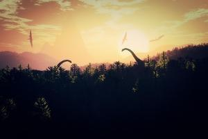 Prehistoric Jungle with Dinosaurs in the Sunset Sunrise 3D Artwork by boscorelli