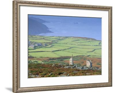 Bosigran Tin Mine Near St. Ives, West Penwith Coast, Cornwall, England, UK-John Miller-Framed Photographic Print