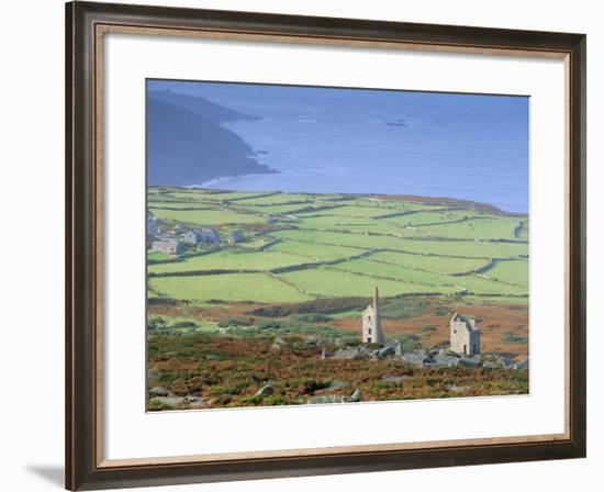 Bosigran Tin Mine Near St. Ives, West Penwith Coast, Cornwall, England, UK-John Miller-Framed Photographic Print