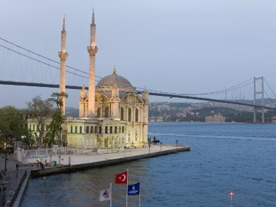 Bosphorous Bridge and Ortakoy Camii Mosque in the Trendy Ortakoy District, Istanbul, Turkey-Gavin Hellier-Photographic Print