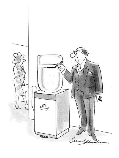 Boss marking water cooler with a pen to keep track of its current level. - Cartoon-Bernard Schoenbaum-Premium Giclee Print