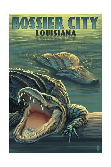 Bossier City, Louisiana - Alligator Scene-Lantern Press-Art Print