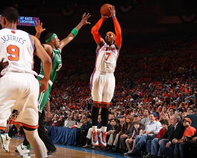 Boston Celtics v New York Knicks - Game Four, New York, NY - April 24: Carmelo Anthony and Paul Pie--Photo