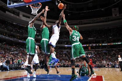 Boston Celtics v Philadelphia 76ers: Jrue Holiday and Paul Pierce-Jesse D. Garrabrant-Photographic Print