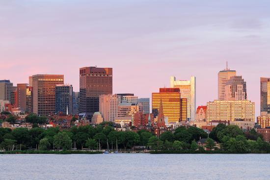 Boston Charles River Sunset with Urban Skyline and Skyscrapers-Songquan Deng-Photographic Print