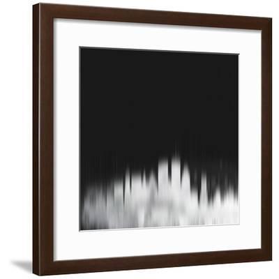 Boston City Skyline - White-NaxArt-Framed Art Print