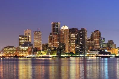 Boston Downtown Skyline Panorama with Skyscrapers over Water with Reflections at Dusk Illuminated W-Songquan Deng-Photographic Print