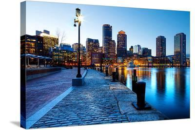 Boston Harbor & Downtown Dusk--Stretched Canvas Print