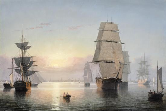 Boston Harbor, Sunset, 1850-55-Fitz Henry Lane-Giclee Print