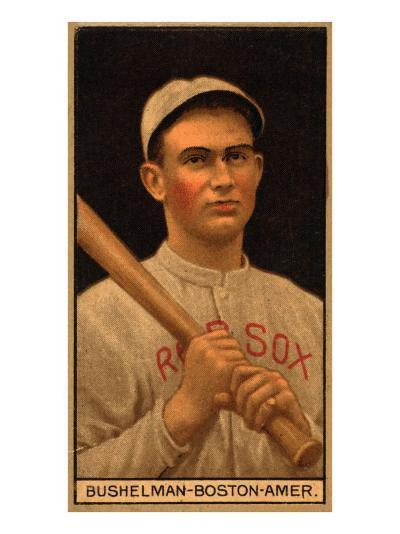 Boston, MA, Boston Red Sox, J. F. Bushelman, Baseball Card-Lantern Press-Art Print