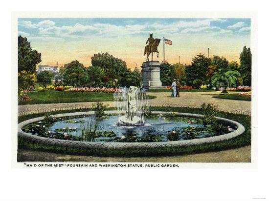 Boston, MA - Maid of the Mist Fountain, Washington Statue, Public Garden View-Lantern Press-Art Print