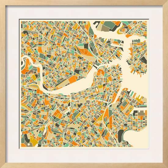 Boston Map Framed Art Print By Jazzberry Blue Art Com