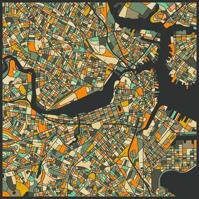 Boston Map-Jazzberry Blue-Art Print