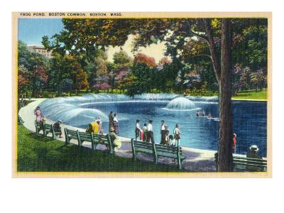 Boston, Massachusetts - Boston Common View of the Frog Pond, c.1933-Lantern Press-Art Print