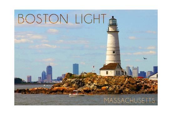 Boston, Massachusetts - Boston Light-Lantern Press-Art Print