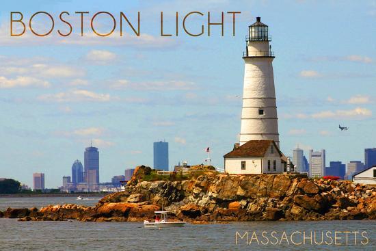 Boston, Massachusetts - Boston Light-Lantern Press-Wall Mural