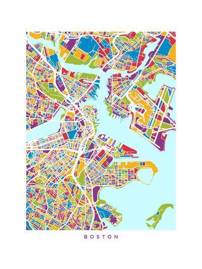 Boston Massachusetts City Street Map-Michael Tompsett-Art Print