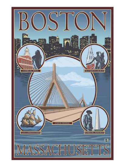 Boston, Massachusetts, Collage Views-Lantern Press-Art Print
