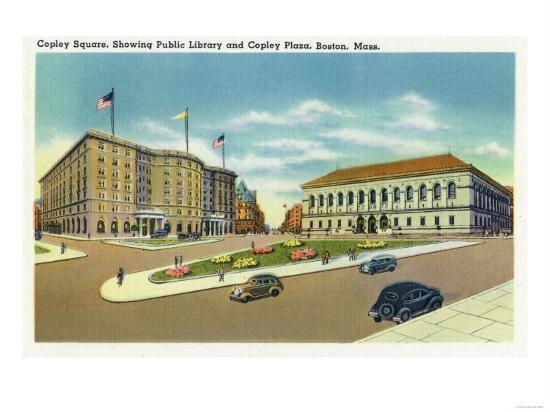 Boston, Massachusetts - Copley Plaza and Square View of the Public Library-Lantern Press-Art Print