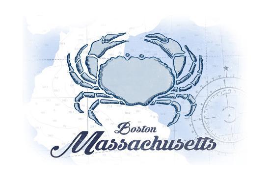 Boston, Massachusetts - Crab - Blue - Coastal Icon-Lantern Press-Art Print