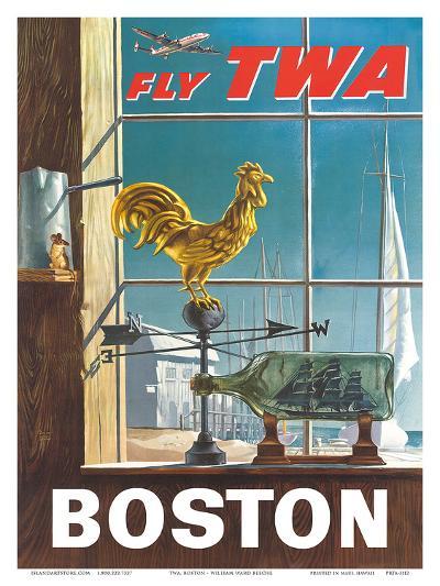 Boston, Massachusetts - Fly TWA (Trans World Airlines) - Ship in a Bottle - Rooster Weathervane-William Ward Beecher-Art Print